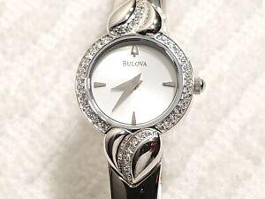 Vintage Bulova Diamond Bezel Silver Tone Bracelet Watch Stainless Steel Women's
