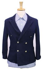 * RING JACKET * Japan Navy Blue 2Bt Double Breasted Slim Knit Cotton Blazer 36XS