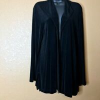 Chico's Travelers Open Front Jacket Top Black Slinky Stretch Missy Size 2