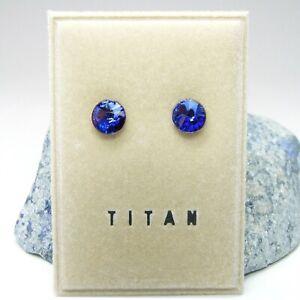 NEU Titan OHRSTECKER 6mm EDEL CRYSTAL saphir/blau/sapphire OHRRINGE