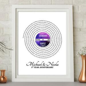 Personalised Song Lyrics LP Vinyl Record Word Art Print Paper Anniversary Gift