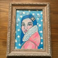 Original art Mixed media painting canvas whimsical girl portrait sold by artist