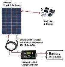 100W Watt 12V Volt Solar Panel RV Kit Camping Off Grid Battery Boat Photovoltaic