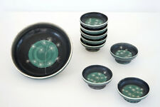 Schüssel & 8 Schälchen, Keramik, Tapis Vert, Vallauris, 50er, handmade, Bowls