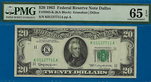 Near TOP POP - 1963 $20 FRN (( 2nd FINEST - Dallas )) PMG Gem 65EPQ - K1127711A-