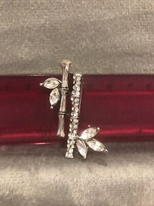 Stunning Diamanté Bamboo Silver Colour Style Brooch Pin