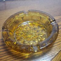 """Mid Century Vintage Amber Gold Thick Cut Glass 6"""" Round Ashtray Cigar"""