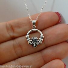 Marcasite Claddagh Necklace - 925 Sterling Silver -Claddagh Heart Pendant Celtic