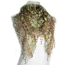 New Women Lace Tassel Rose Floral Knit Mantilla Triangle Hollow Scarf Shawl Wrap