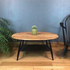 Vintage Retro Mid Century Oval Ercol Coffee Table Black Refurbished Elm
