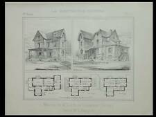 BOIS-COLOMBES, VILLA - 1894 - PLANCHE ARCHITECTURE - RANCON
