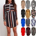 Ladies Womens Collared Front Button Stripes Party Casual Mini Dress Shirt Top