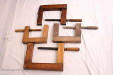 4 große antike Holzzwinger / Schraubstock / Schreiner Werkzeug / 4 Large antique