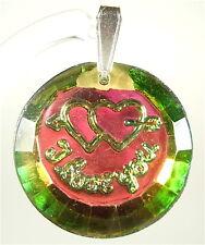 """I love you"" bohemia Glas Kristall pendent vitail 1970er Jahre vitrail medium"