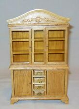 VICTORIAN OAK CHINA CABINET MINIATURE  DOLLHOUSE FURNITURE