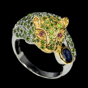 Heated Oval Blue Sapphire Rhodolite Garnet Gems 925 Sterling Silver Tiger Ring 8