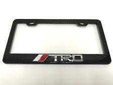 "3D ""TRD"" Handmade REAL CARBON FIBER License Plate Frame Tag Cover 3K TWILL"