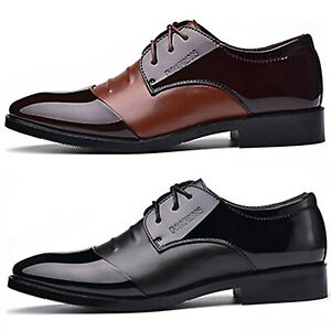 Men Lace Up Smart Dress Shoes Wedding Formal Office Leather Business Work Party