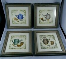 Set of 4 Framed Watering Can & Garden Tools Prints Wall Art Square Gardening