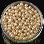 New 50pcs 6mm Round Glass Pearl Loose Spacer Beads Jewelry Making Baby Gold