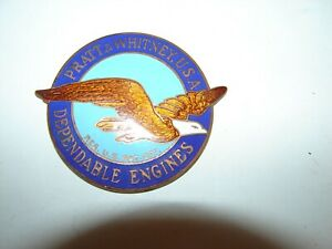 vintage original NOS WW2 era Pratt & Whitney aircraft enamel engine emblem badge