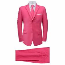 Men's 2 Piece Suit with Tie Jacket Trousers Smart Business Work Pink Size 48