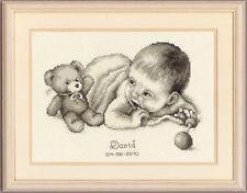 Vervaco-puntada cruzada contada Kit-Registro de Nacimiento-Baby Teddy - 2002 \ 75.197