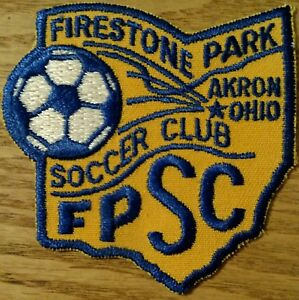"""2 vintage soccer patches 3"""" Firestone Park Soccer Club Akron OH Ohio"""