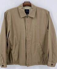 BROOKS BROTHERS Mens Tan Beige Full Zip Lined Collared Bomber Jacket Size XL