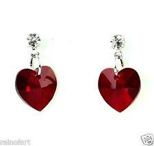 Red Crystal Cubic Zirconia Heart Love New Elegant Earrings