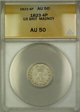 1823 Great Britain Maundy Silver Fourpence Groat 4P Coin ANACS AU-50