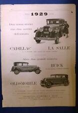 pubblicità chrysler - cadillac la salle - buick - oldsmobile - 1929