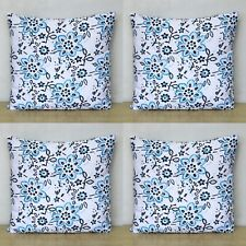 """Indian Hand Block Turquoise Floral Print Home 16"""" Decorative 4 Pcs Cushion Cover"""