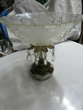 Vintage Brass Pedestal Fruit Bowl With Marble Base & Crystal Prisms Shabby Chic!
