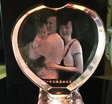 "3.2"" 3d Custom Personalized Laser Etched Engraving Crystal Glass Photo Heart"
