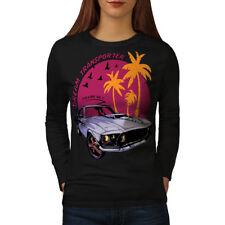 Wellcoda America Muscle Car Womens Long Sleeve T-shirt, Automobile Casual Design