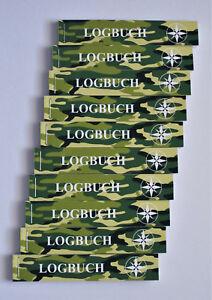 10 x Geocaching Logbuch für Petlinge, Camouflage, grün, Logbücher