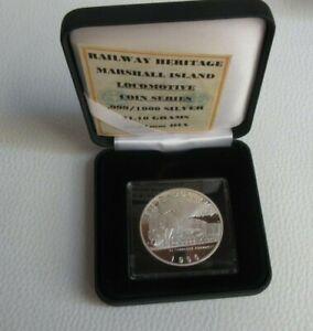 1996 Steam Train CJ ADVANCE MARSHALL ISLANDS $50 Dollars Silver Proof Coin