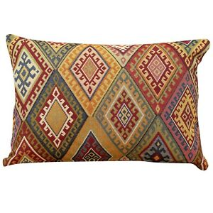 Traditional Vintage Kilim Cushion 43x30cm Rectangle Turkish Geometric Tapestry.