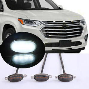 New For Chevrolet Traverse 2018-21 Smoke Front Grille White LED Light Raptor 3X