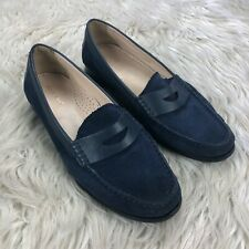 Cole Haan Women's 8 Blue Suede Slip on Penny Loafer Flats