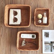 Handmade Rattan Storage Baskets Household Items Kitchen Supplies Organizer Box
