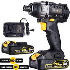 Impact Driver 20V, TECCPO 1600In-lbs Cordless Impact Driver Kit with 2pcs 2.0Ah