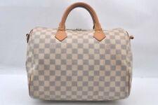 Auth Louis Vuitton Damier Azur Speedy Bandouliere 30 Hand Bag N41001 LV A0613