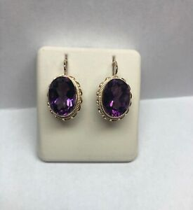 14kt yellow gold handmade twisted wire Amethyst earrings with pierced wires