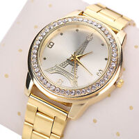 Womens Splendid Eiffel Tower Rhinestone Stainless Steel Quartz Wrist Watch