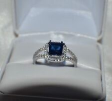 2.76ct. BLUE & WHITE AAA SAPPHIRE SET IN PLATINUM OVER STERLING SILVER  RING