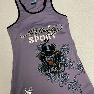 Ed Hardy Sport Tank Top Athletic Wear Top Size Small Purple Tiger Design