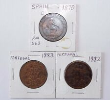 1870 10 Centimos Spain, 1882 & 1883 20 Reis Portugal a lot of 3 valuable Coins