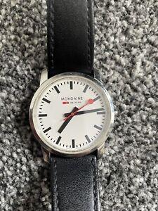 Mondaine Official Swiss Railways 35mm Black Leather Strap Watch